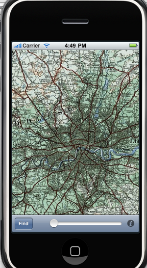 Route-me iphone app with historic map
